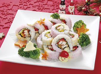 クリスマスの彩り照焼きチキン巻き寿司