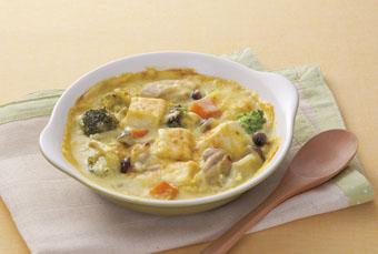 豆腐のカレーグラタン