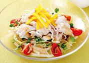 地産地消・ご当地サラダ麺!豚しゃぶと黄パプリカのサラダうどん
