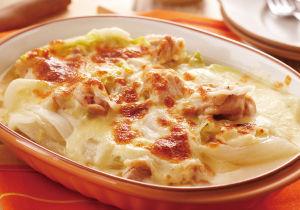 白菜と鶏肉のスープグラタン