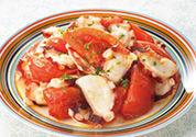 トマトとたこのガーリック炒め