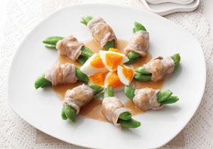 レンジで簡単!スナップえんどうの豚肉巻きサラダ
