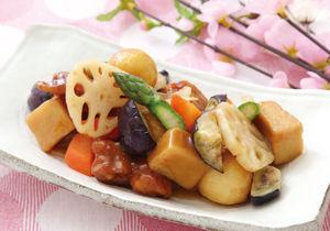 春野菜と鶏の黒酢あんかけ