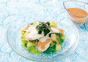 サラダチキンと春キャベツのピリ辛ドレッシングサラダ