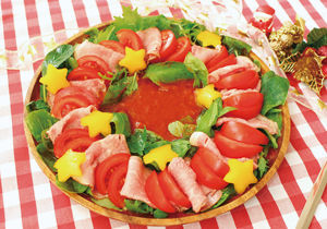 ローストビーフのリース風サラダ